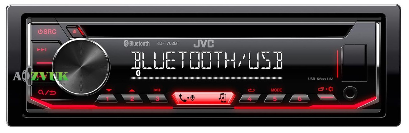 Автомагнитола 1-DIN JVC KD-T702BT