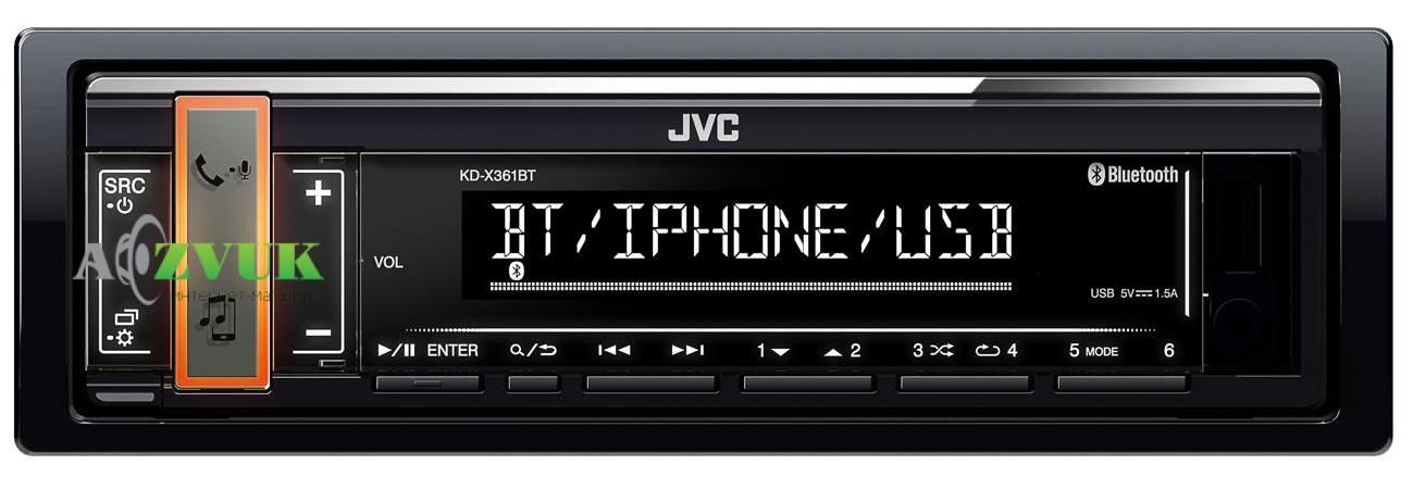 Автомагнитола 1-DIN JVC KD-X361BT