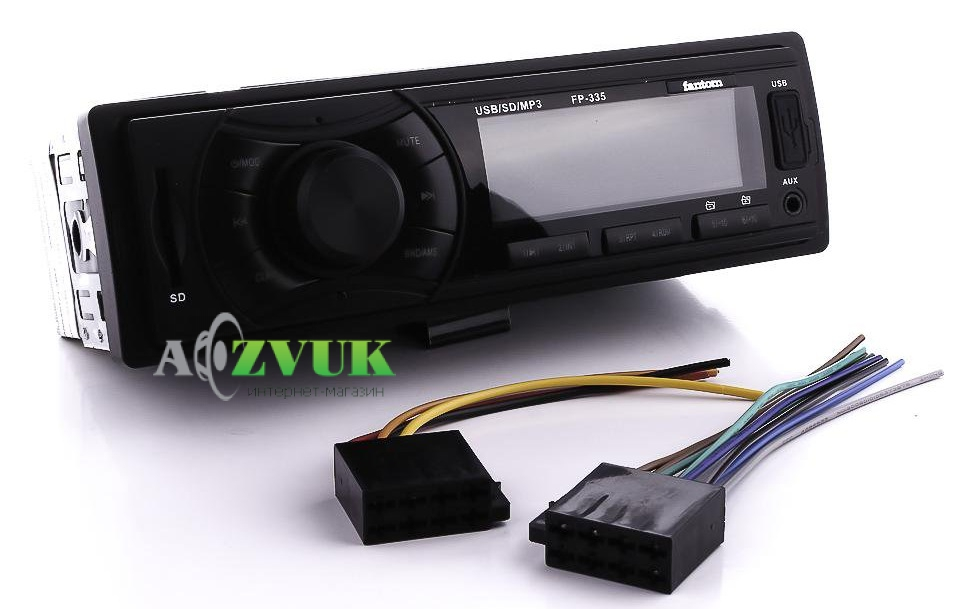 Автомагнитола 1-DIN Fantom FP-335 Black/Green