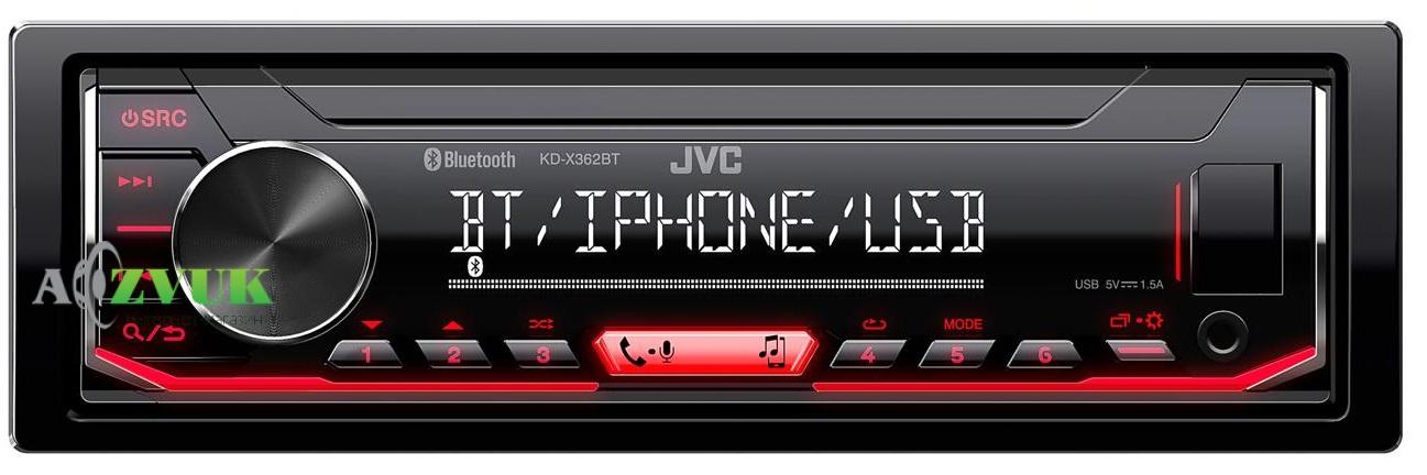 Автомагнитола 1-DIN JVC KD-X362BT