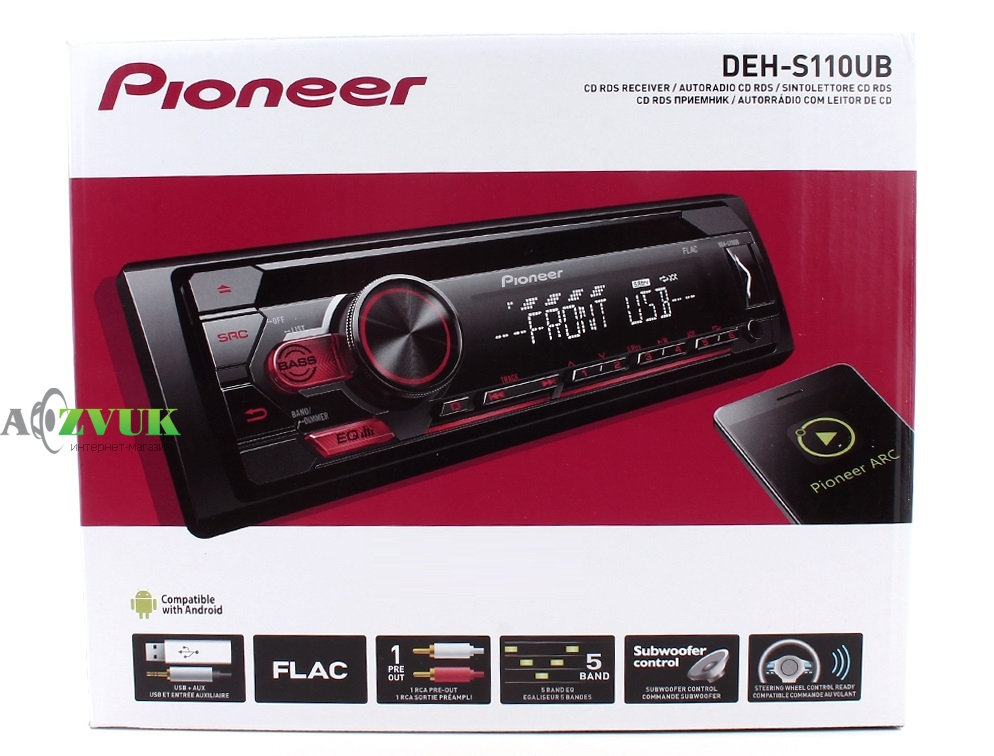 Автомагнитола 1-DIN Pioneer DEH-S110UB