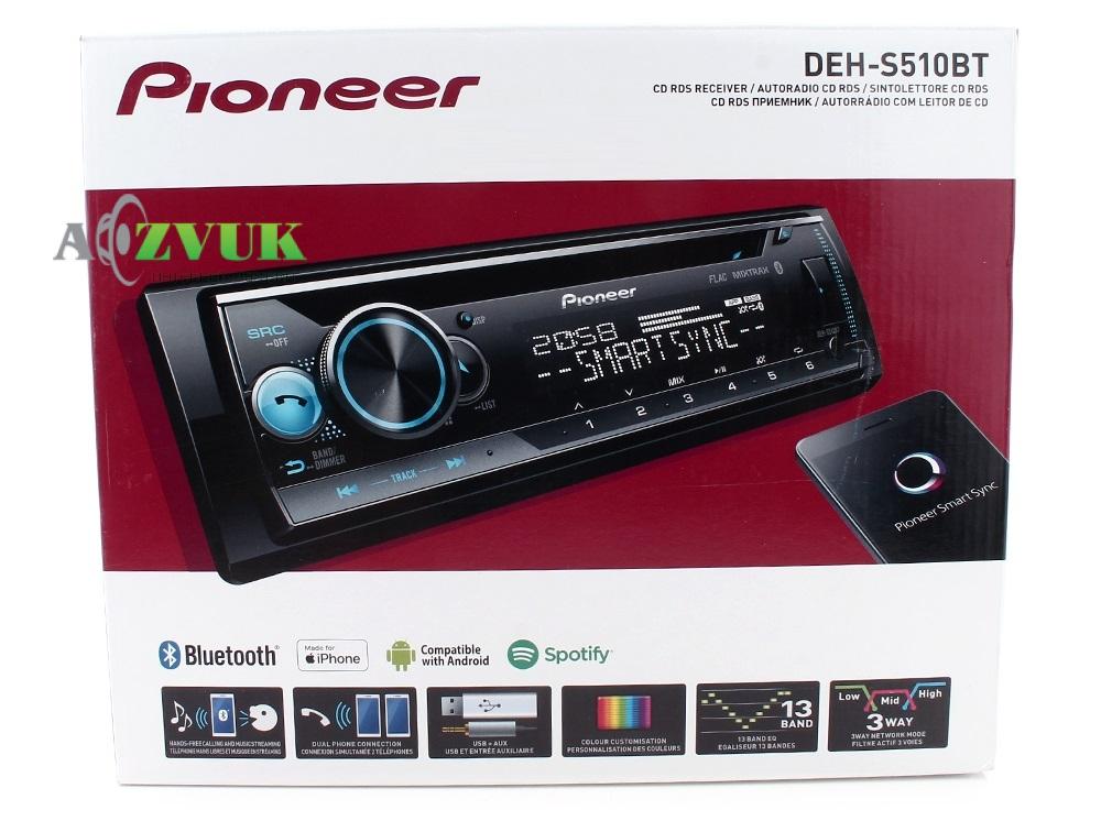 Автомагнитола 1-DIN Pioneer DEH-S510BT
