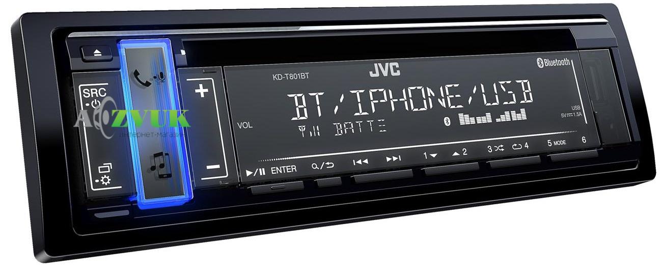Автомагнитола 1-DIN JVC KD-T801BT